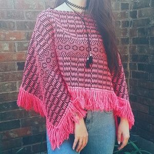 Sweaters - Electric Pink Peruvian Poncho AUTHENTIC